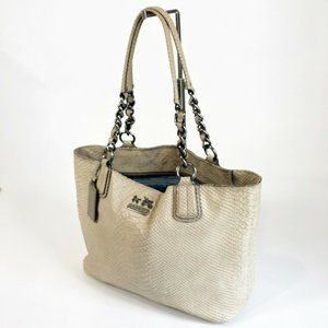 Coach Ivory Python Embossed Zip Top Chelsea Tote B